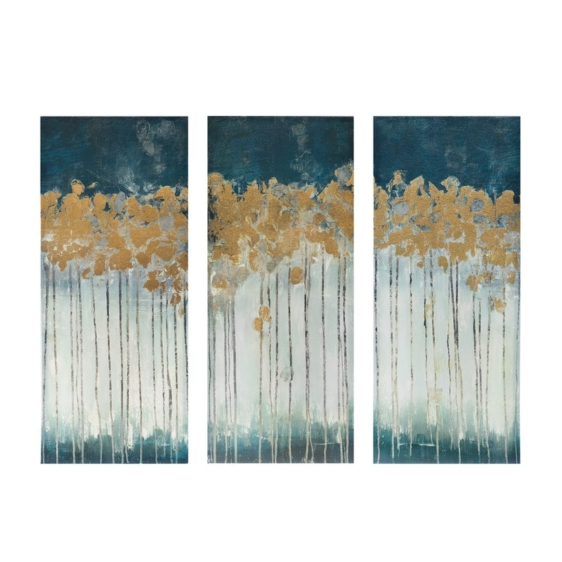 Midnight Forest' Gel Coat Canvas Wall Art With Gold Foil Intended For Gold Canvas Wall Art (View 6 of 15)