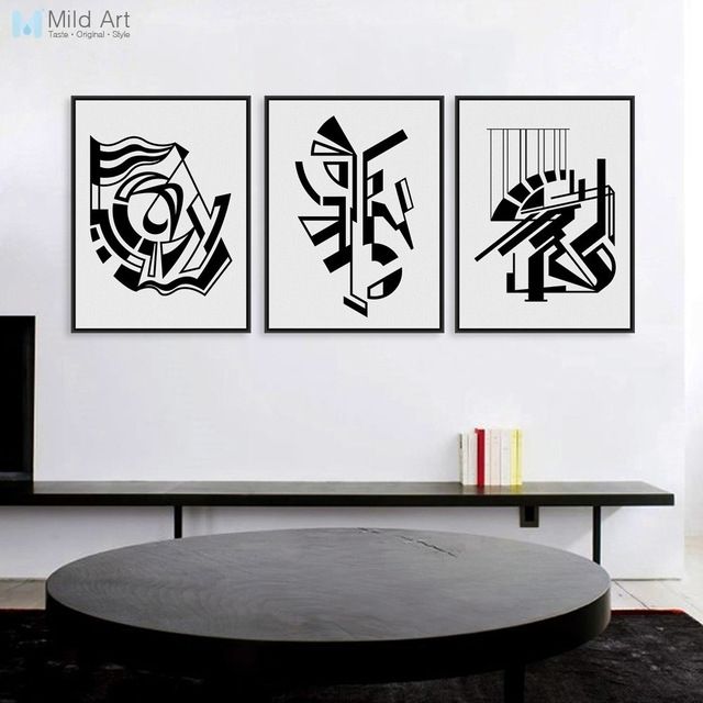 Minimalist Nordic Black White Symbol A4 Art Prints Poster Abstract With Abstract Framed Art Prints (View 11 of 15)