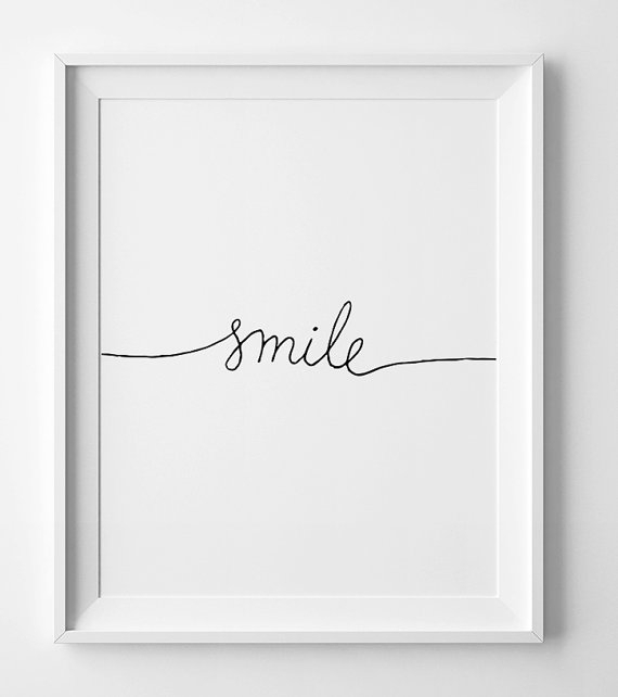 Minimalist Print Smile Black And White Nursery Printable With Black And White Fabric Wall Art (View 11 of 15)