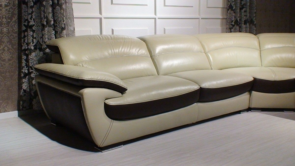 Miracle Contemporary Two Tone Leather Sectional Sofa | Leather Intended For Des Moines Ia Sectional Sofas (Image 8 of 10)