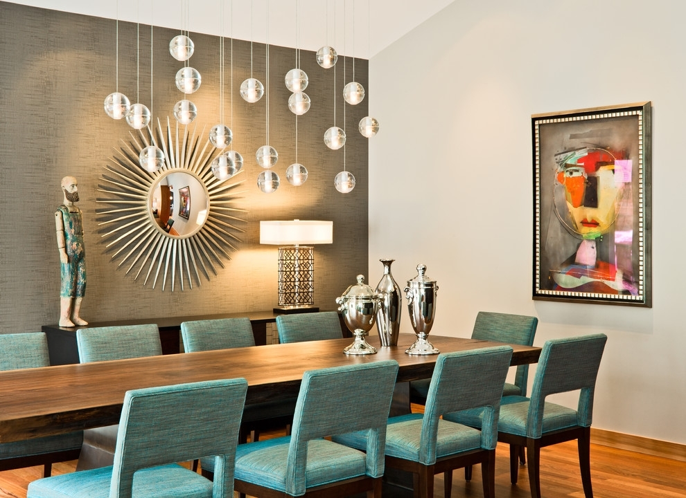 Mirror Wall Art Ideas For Modern Dining Room With Starburst Shaped Inside Wall Accents For Narrow Room (View 4 of 15)