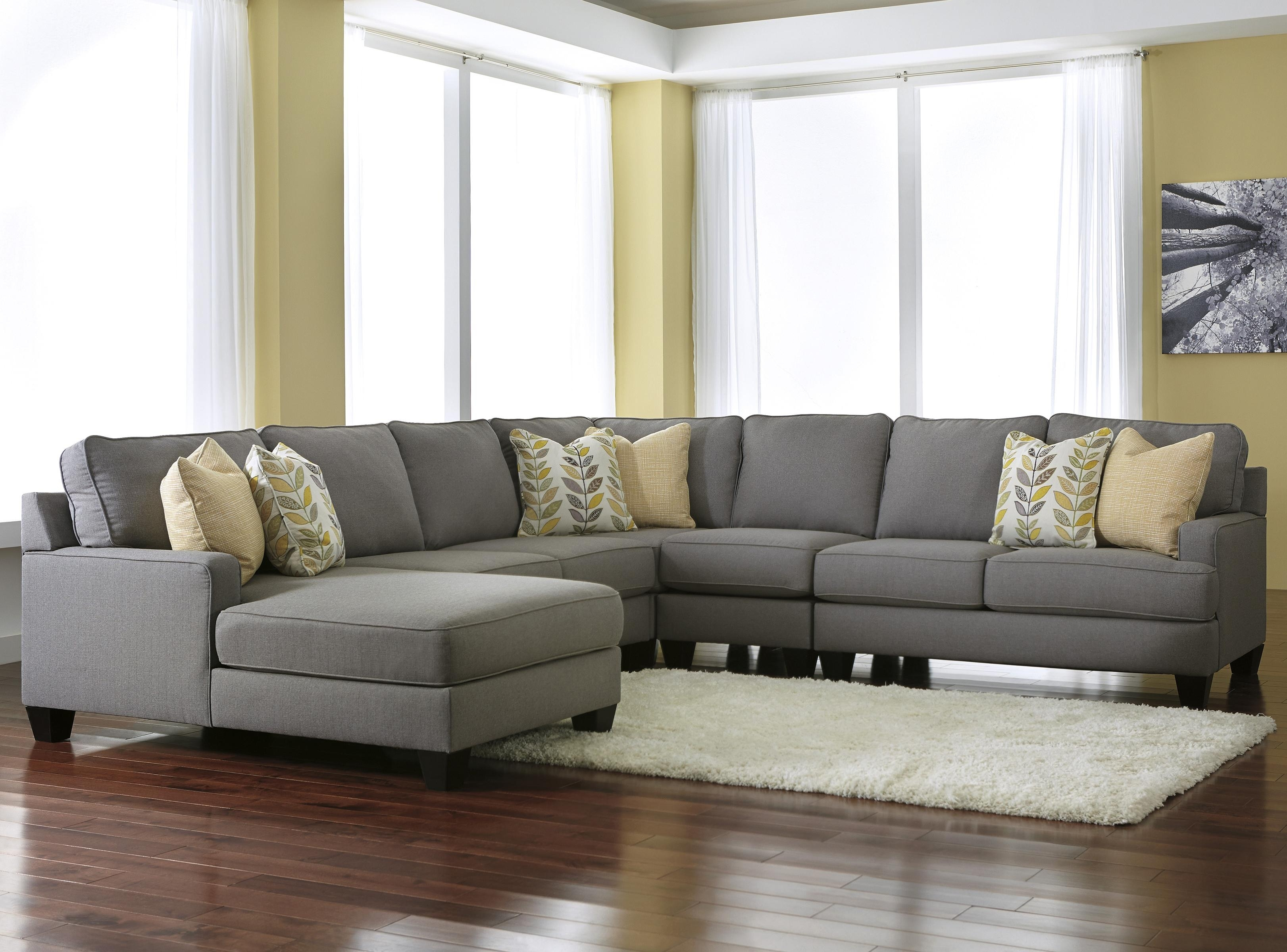 Modern 5 Piece Sectional Sofa With Left Chaise & Reversible Seat For Lancaster Pa Sectional Sofas (Image 8 of 10)