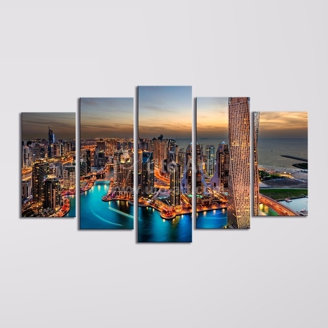 Modern 5 Piece Wall Art Painting Canvas Prints Frames Picture Of With Regard To Dubai Canvas Wall Art (Image 13 of 15)