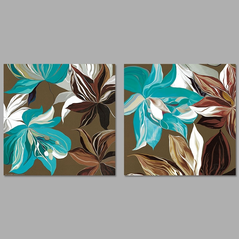 Modern Abstract Art 2Pcs/set Pictures Decoration Green Gray Brown Throughout Blue And Brown Canvas Wall Art (View 3 of 15)