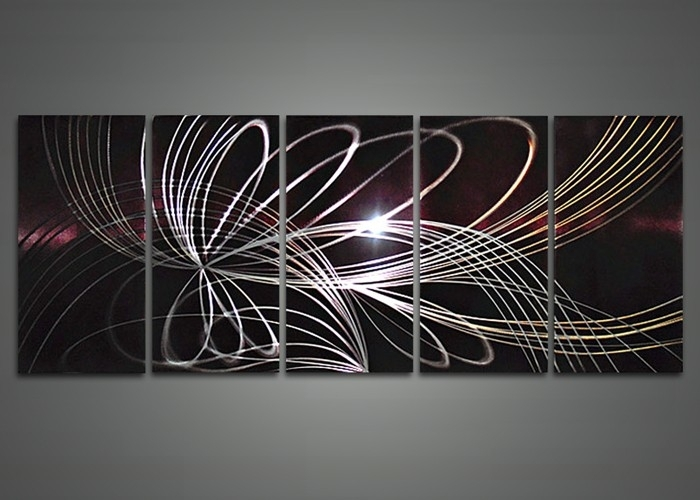 Modern Abstract Metal Wall Art Painting 60 X 24In | Fabu Art For Abstract Metal Wall Art Painting (Image 9 of 15)