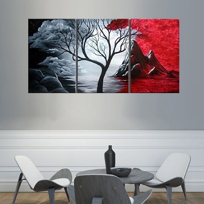 Modern Abstract Painting Wall Decor Landscape Canvas Wall Art 3 In Modern Canvas Wall Art (View 4 of 15)