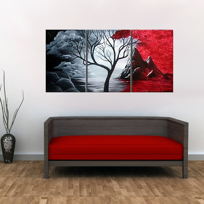 Modern Abstract Painting Wall Decor Landscape Canvas Wall Art 3 Regarding Next Canvas Wall Art (View 7 of 15)