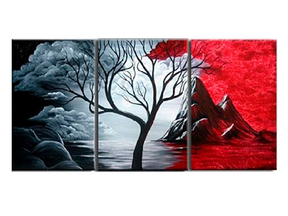 Modern Abstract Painting Wall Decor Landscape Canvas Wall Art 3 Within Landscape Canvas Wall Art (Image 11 of 15)