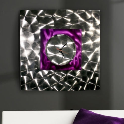 "Modern Abstract Purple Silver Metal Wall Art Clock Sculpture ""wind Within Abstract Metal Wall Art With Clock (View 11 of 15)"