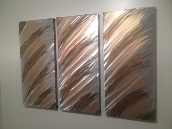 Modern Abstract Silver/gold/copper Metal Wall Art Panel Set Pertaining To Abstract Metal Wall Art Panels (View 3 of 15)