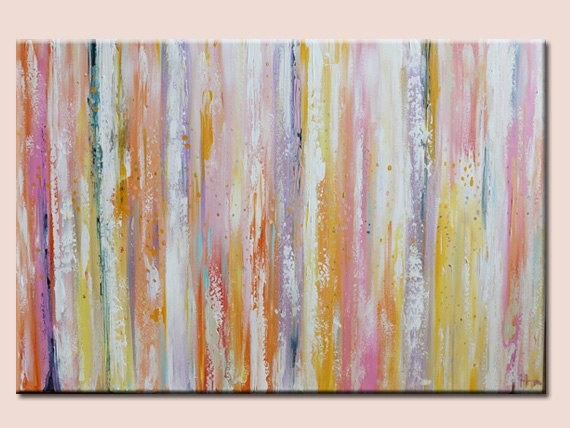 Modern Abstract Wall Deco Artwork Green Pink Orangepastel Shades Intended For Pastel Abstract Wall Art (View 1 of 15)