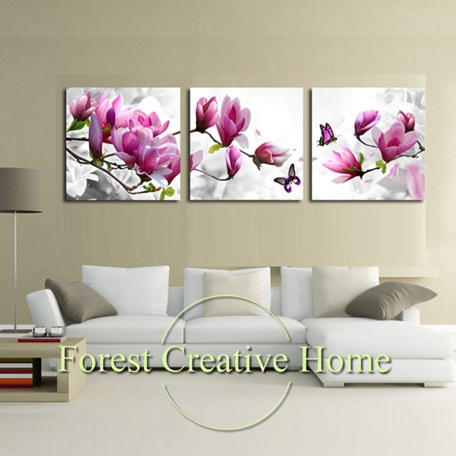Modern Art Flower Canvas Painting Three Picture Combination Throughout Canvas Wall Art Of Flowers (Image 11 of 15)