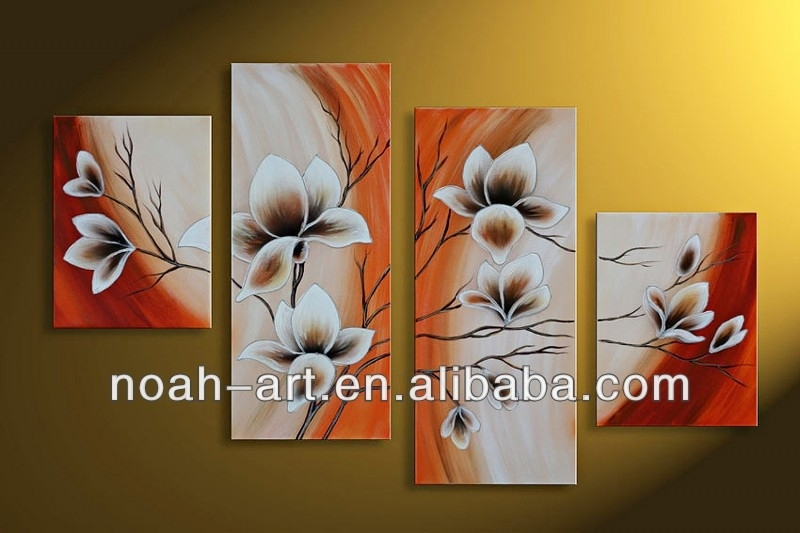 Modern Art Paintings Flower Designs To Paint On Canvas Home Goods Within Fabric Painting Wall Art (Image 8 of 15)