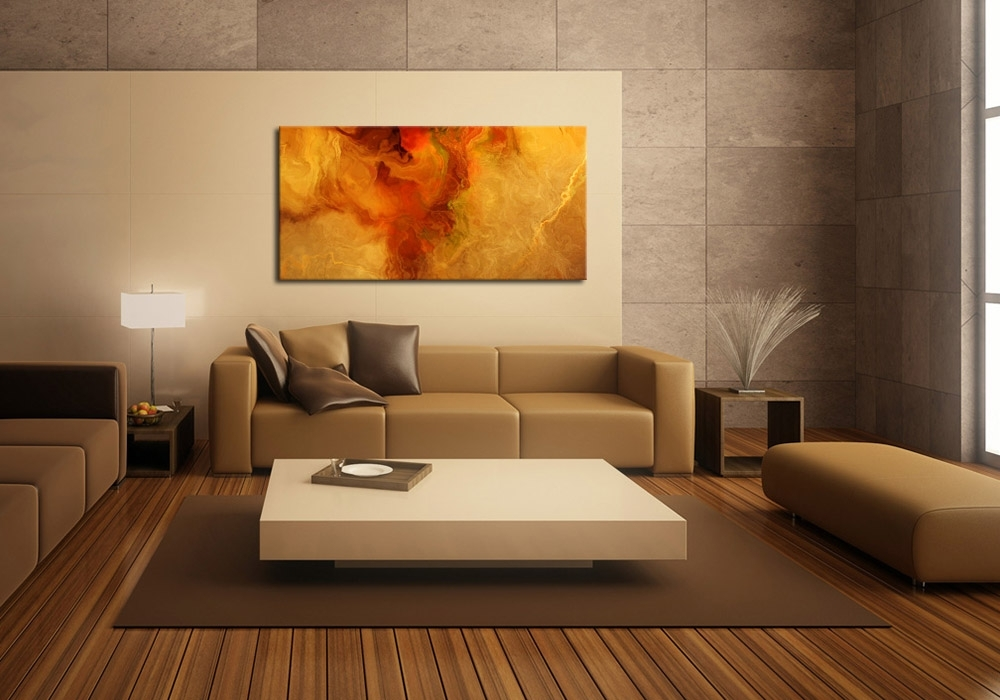 Modern Art Print On Canvas – Warm Embrace Pertaining To Giant Abstract Wall Art (Image 8 of 15)