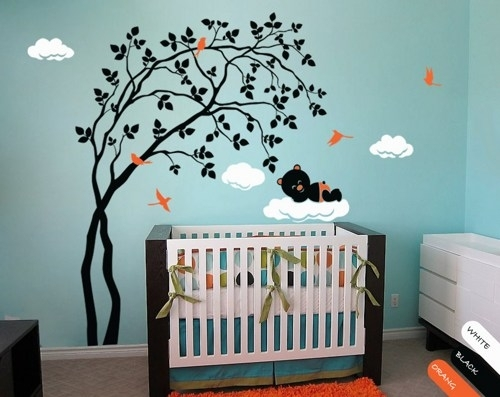 Modern Baby Nursery Wall Decal Tree Sticker Mural Teddy Decor Within Nursery Wall Accents (View 8 of 15)