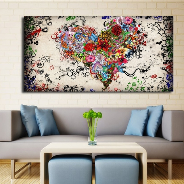 Modern Big Canvas Wall Art Canvas Painting Watercolor Heart Throughout Modern Abstract Wall Art (Image 12 of 15)