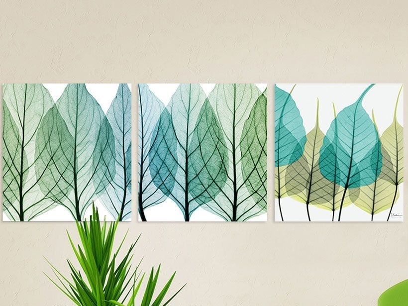 Modern Blue Leaves Set Of 3 Canvas Painting Large 50X50 Each In Leaves Canvas Wall Art (Image 8 of 15)