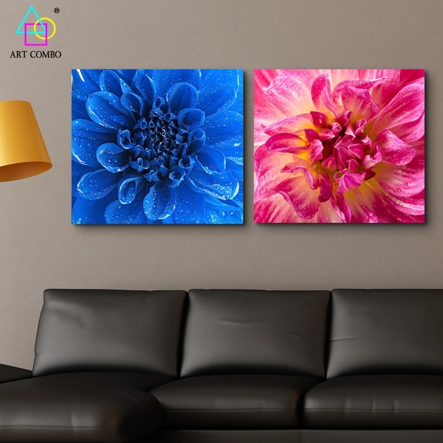Modern Canvas Painting Blue And Pink Blooming Flower Wall Art For Fabric Painting Wall Art (Image 9 of 15)
