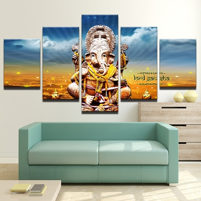 Modern Canvas Painting Hd Printed Wall Art 5 Pieces Elephant Trunk For India Canvas Wall Art (View 7 of 15)
