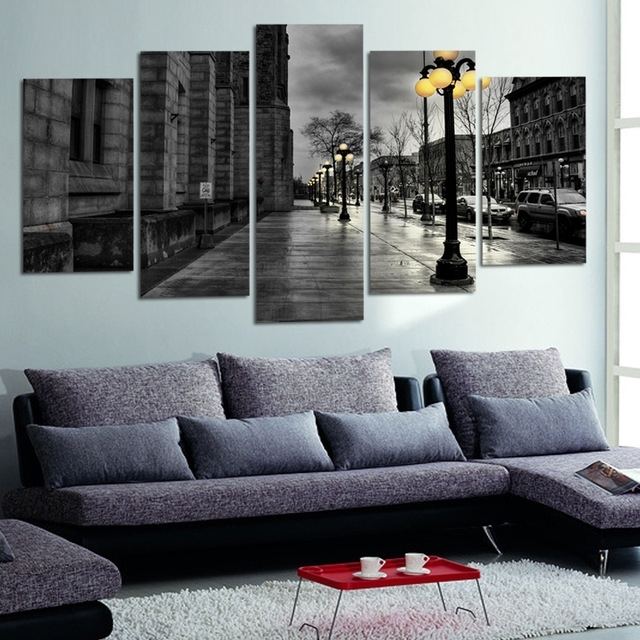 Modern Canvas Pictures Retro Ink Paintings City Street Landscape Throughout Retro Canvas Wall Art (View 5 of 15)