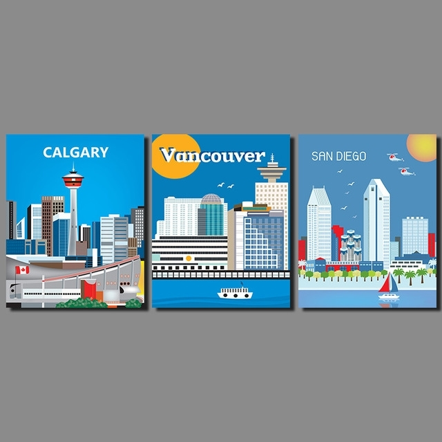 Modern City Landscape Decoration Wall Art Picture San Diego Regarding Calgary Canvas Wall Art (Image 11 of 15)