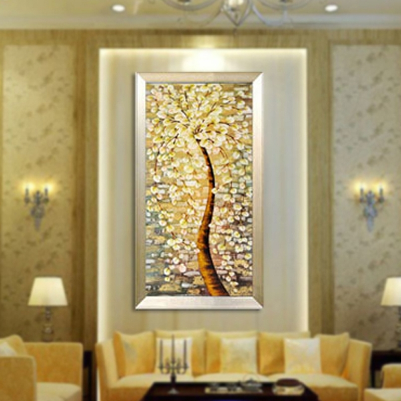 Modern Classic Art Deco Floral Fabric Painting Decorative Painting For Art Deco Wall Fabric (View 14 of 15)