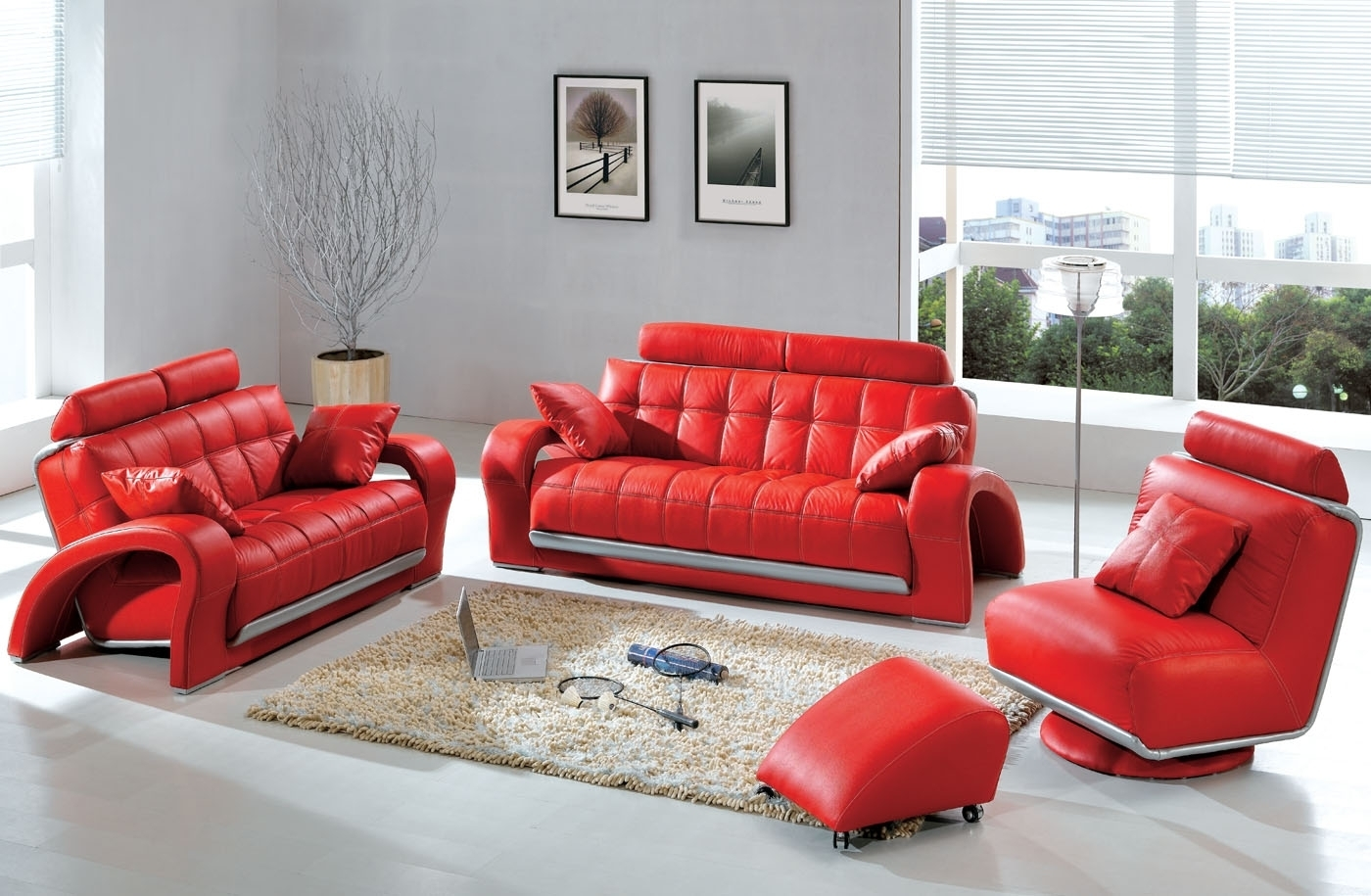 Modern & Contemporary Leather Sofa & Sectional Sets | Funky With Regard To Red Leather Couches For Living Room (Image 4 of 10)