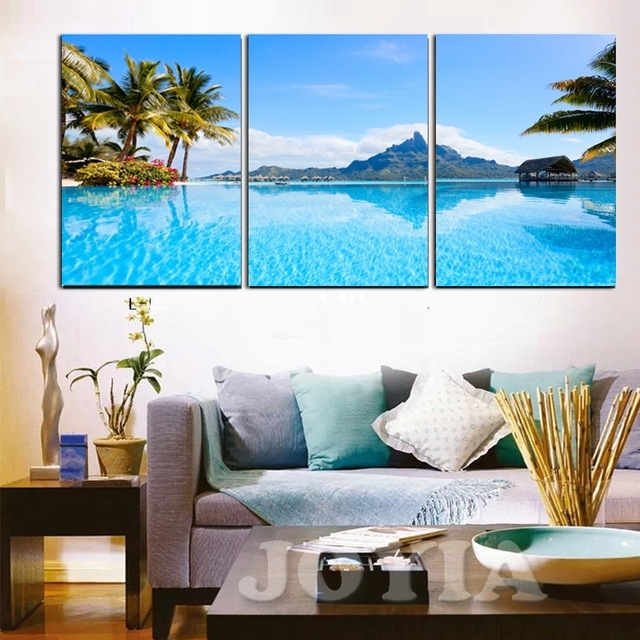 Modern Decor Wall Pictures Blue Sea Tropical Seascape Paintings Intended For Hawaii Canvas Wall Art (View 3 of 15)