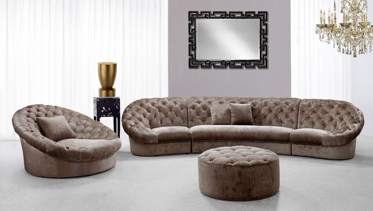 Modern Fabric Sectional Sofa Set With Matching Ottoman And Chair With Vt Sectional Sofas (Image 7 of 10)