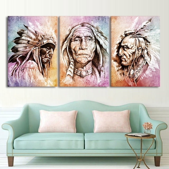 Modern Hd Printed Wall Art Frame Canvas Pictures 3 Pieces American With Regard To Portrait Canvas Wall Art (Image 8 of 15)