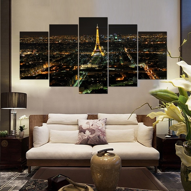Modern Home Decor Living Room Decor Print Night Paris Eiffel Tower With Canvas Wall Art Of Paris (Image 4 of 15)