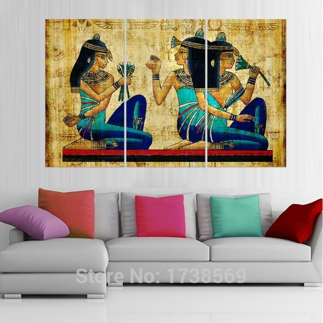 Modern Home Decor Wall Art Picture For Living Room Egyptian Intended For Egyptian Canvas Wall Art (View 4 of 15)