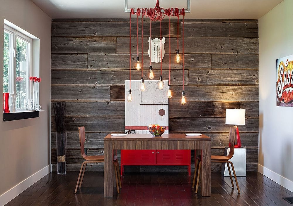 Modern Industrial Diing Room Reclaimed Wood Wall Accent Red Small Regarding Wall Accents Cabinets (View 3 of 15)