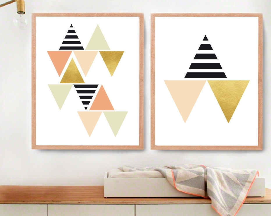 Modern Kids Wall Decor For Fine Gold Triangle Wall Etsy Cheap With Modern Nursery Canvas Wall Art (View 4 of 15)