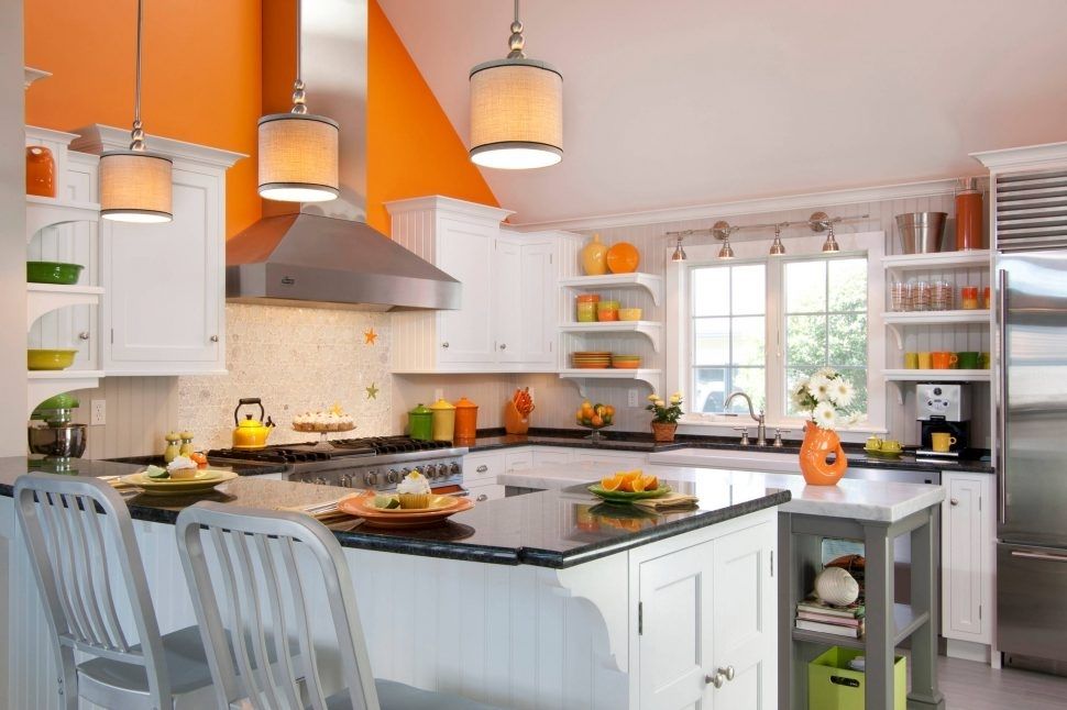 Modern Kitchen : Family Friendly Kitchen Orange Wall Accents Pertaining To Wall Accents Cabinets (View 15 of 15)