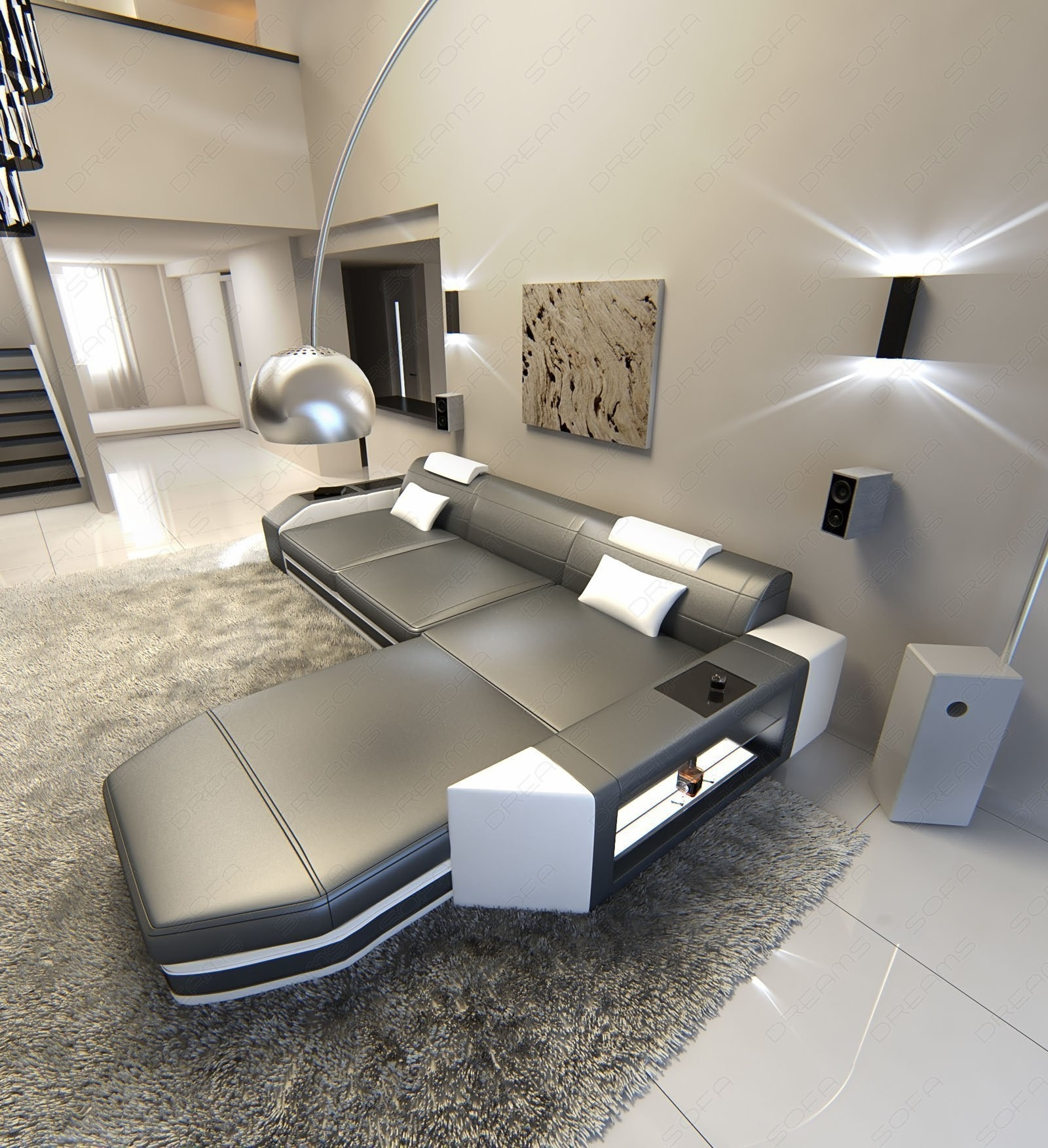 Modern L Shaped Sofa Dallas With Led Lights Leather Sofa Grey White Within L Shaped Sofas (View 10 of 10)