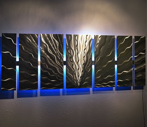Modern Large Abstract Metal Wall Art Color Changing Led Regarding Abstract Metal Wall Art Panels (View 5 of 15)