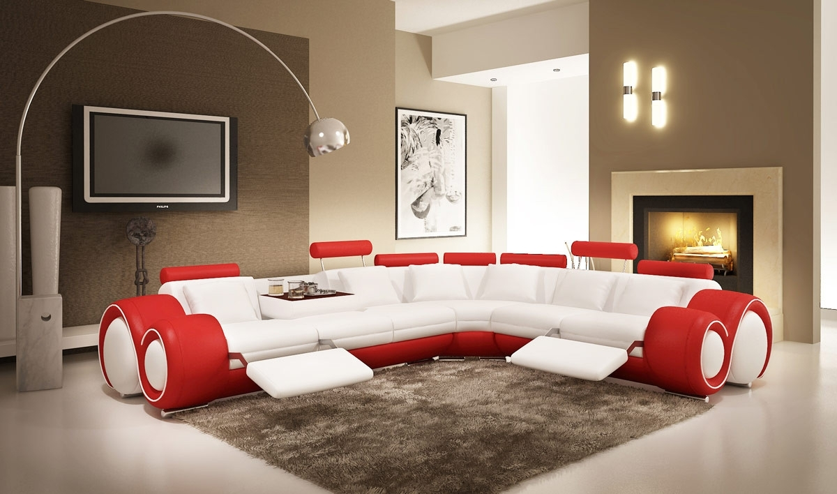 Modern Leather Sectional Sofa With Recliners Throughout Red Leather Sectional Sofas With Recliners (View 3 of 10)