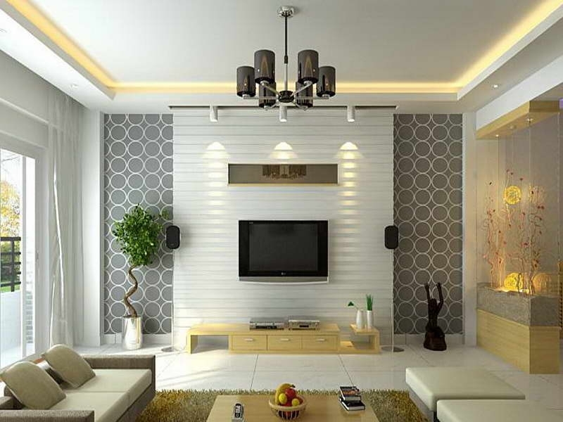 Modern Living Room Accent Wall Ideas With Nice Modern Furniture With Wallpaper Wall Accents (Image 5 of 15)