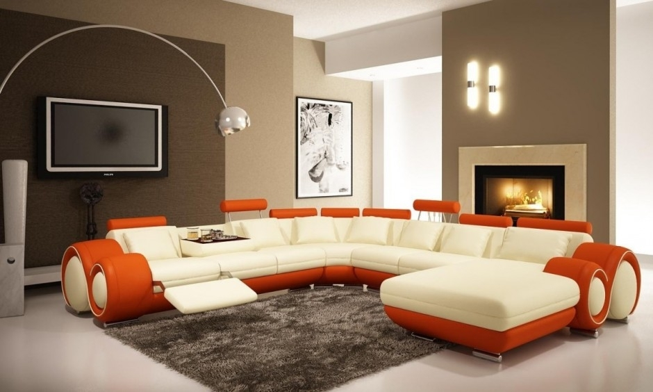 Modern Living Room Inspiration Come With Modern L Shape Sofa Set With Wall Accents For L Shaped Room (Image 14 of 15)