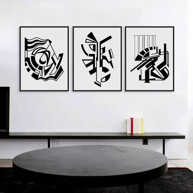 Modern Minimalist Nordic Black White Symbol A4 Large Art Prints Within Black And White Framed Art Prints (Image 11 of 15)