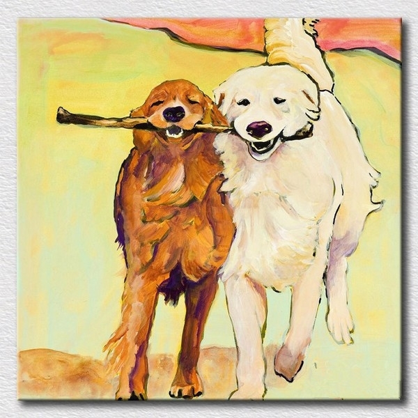 Modern Oil Painting Of Lovely Dogs Canvas Wall Art For Kids For Dogs Canvas Wall Art (Image 11 of 15)