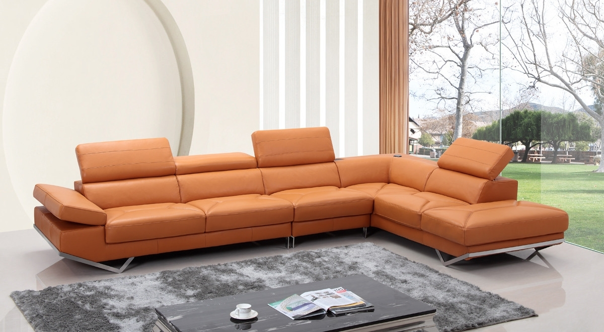 Modern Orange Leather Sectional Sofa Pertaining To Quebec Sectional Sofas (Image 10 of 10)
