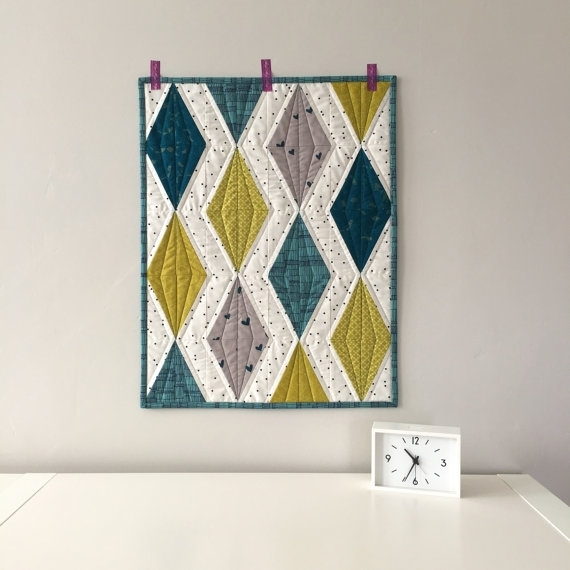 Modern Quilt | Wall Hanging | Diamond Quilt | Teal And Chartreuse For Quilt Fabric Wall Art (View 13 of 15)