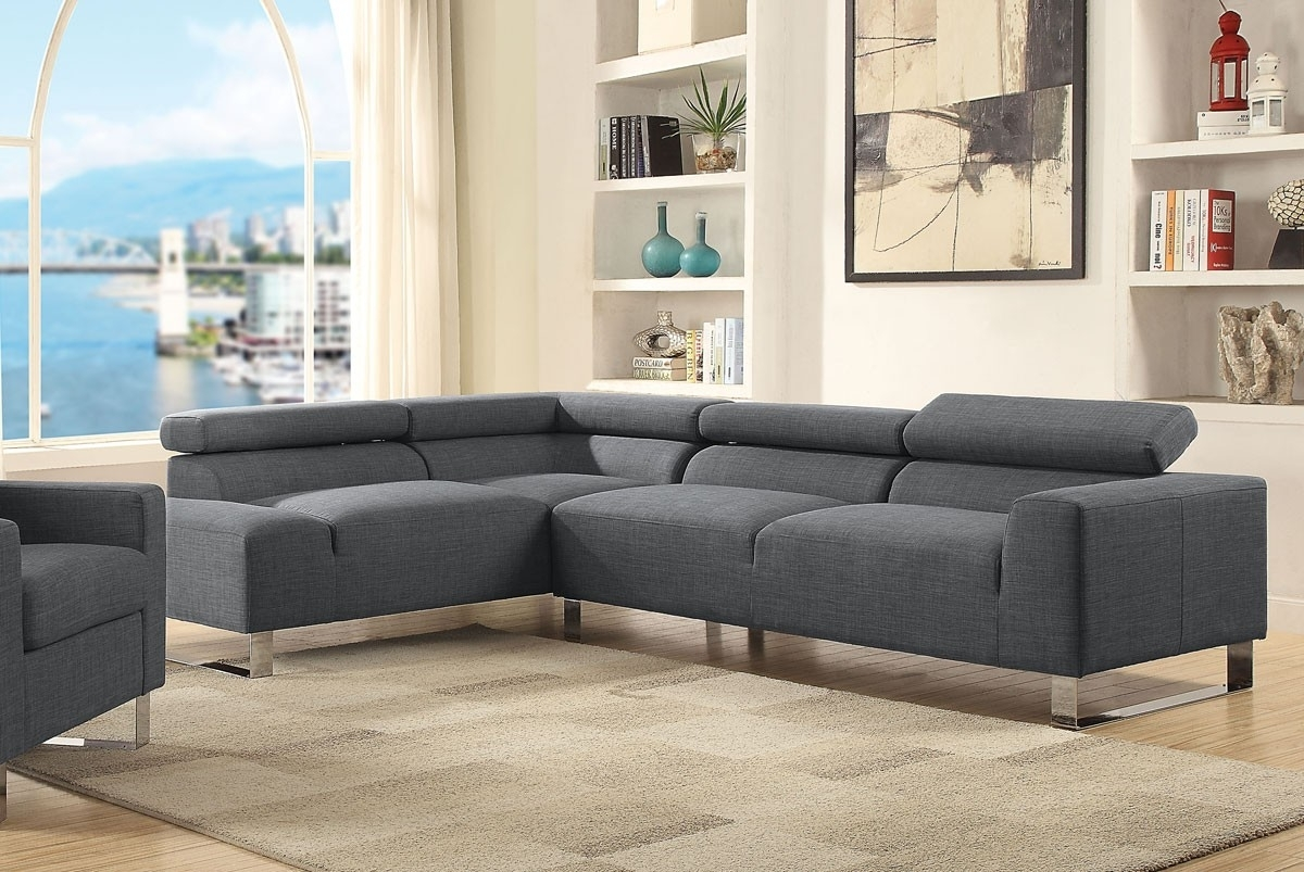 Modern Sectional Couch Grey Linen In Modern Sectional Sofas (Image 4 of 10)