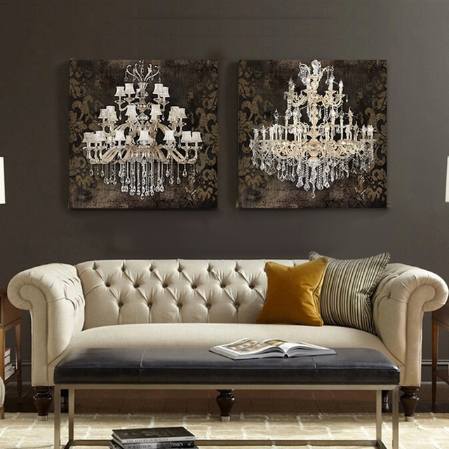 Modern Still Life Painting Canvas Art Crystal Chandelier Pattern Throughout Chandelier Canvas Wall Art (View 5 of 15)