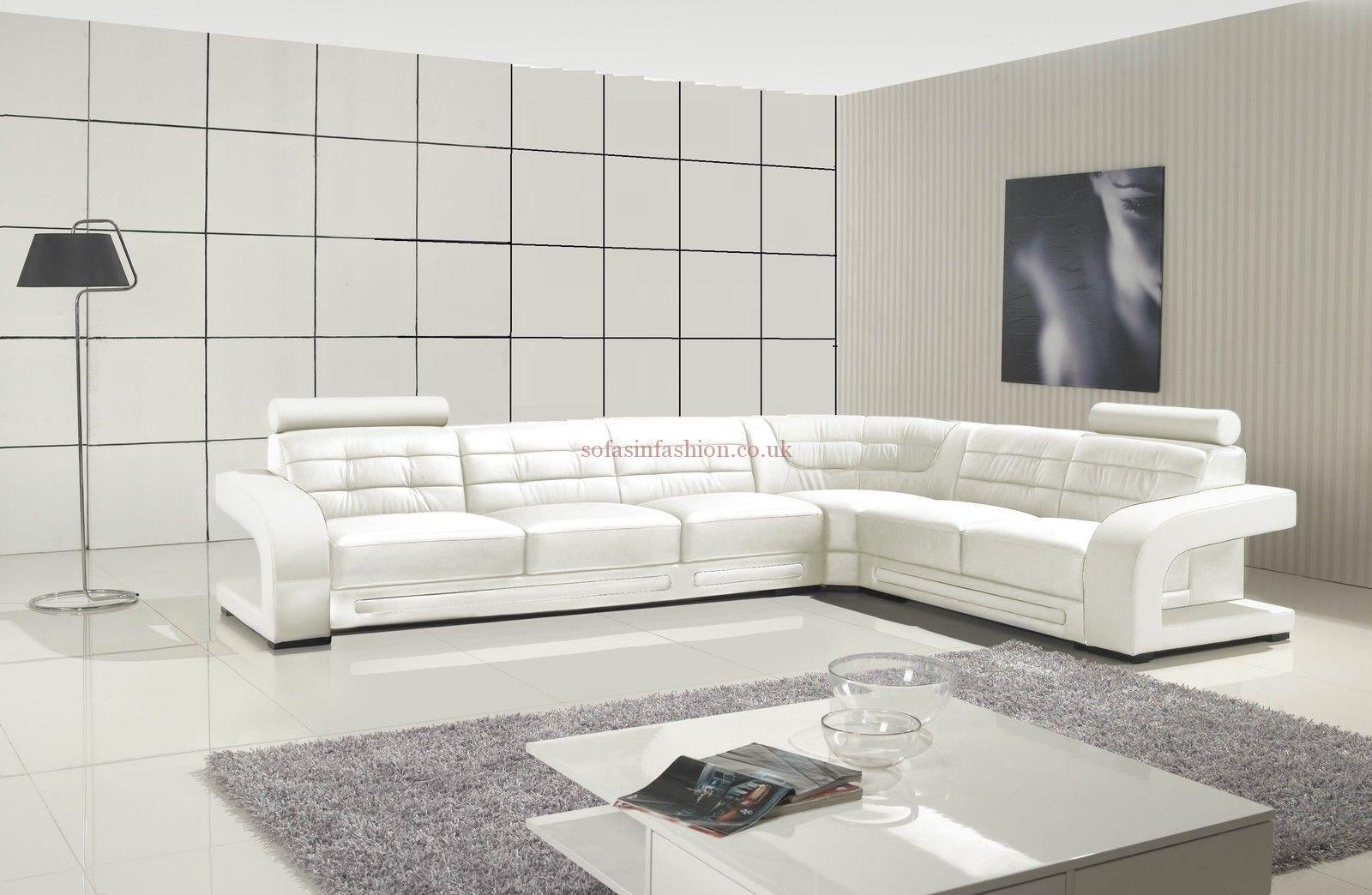 Modern Style White Corner Sofa With White Leather Corner Sofa Pertaining To White Leather Corner Sofas (View 9 of 10)