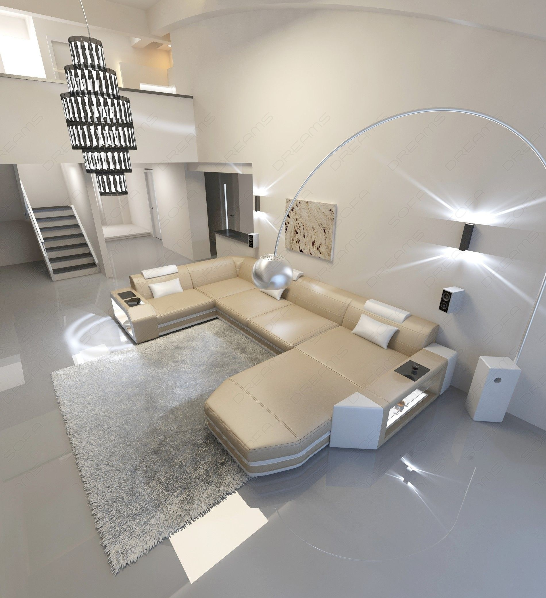 Modern U Shaped Sofa Dallas With Lights With Modern U Shaped Sectionals (Image 4 of 10)