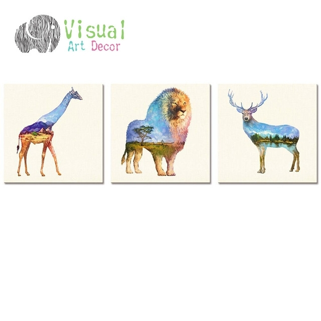 Modern Wall Art Decal Animal Double Exposure Painting Canvas For Giraffe Canvas Wall Art (View 3 of 15)
