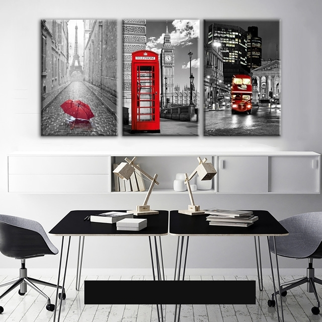 Modern Wall Art Framework Canvas Pictures 3 Pieces Paris Black Inside Black And White Canvas Wall Art (Image 6 of 15)